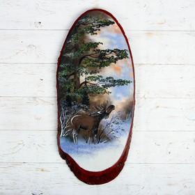 """Панно на спиле """"Зима. Лось"""", 57-62 см, каменная крошка, верикальное"""