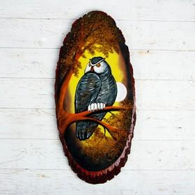 """Панно на спиле """"Осень.Сова"""", 63-68 см, каменная крошка, вертикальное"""