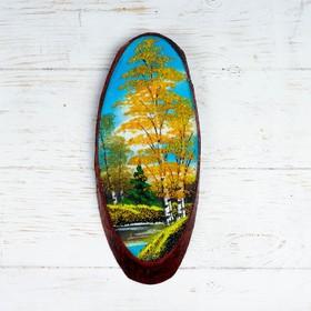 """Панно на спиле """"Осень"""", 27-31 см, каменная крошка, вертикальное"""