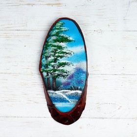"""Панно на спиле """"Зима"""", 27-31 см, каменная крошка, вертикальное"""