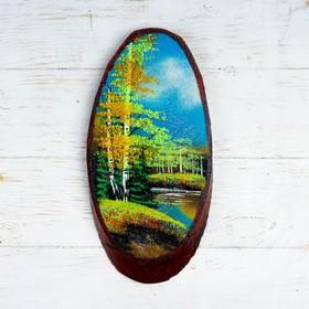 """Панно на спиле """"Осень"""", 32-36 см, каменная крошка, вертикальное"""