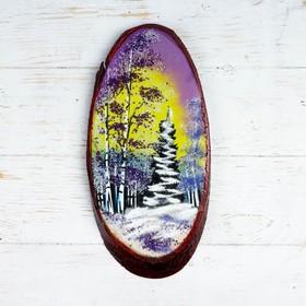 """Панно на спиле """"Зима"""", 32-36 см, каменная крошка, вертикальное"""