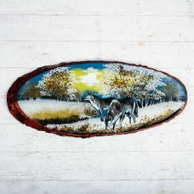 """Панно на спиле """"Зима. Волки"""", 75-79 см, каменная крошка, горизонтальное"""