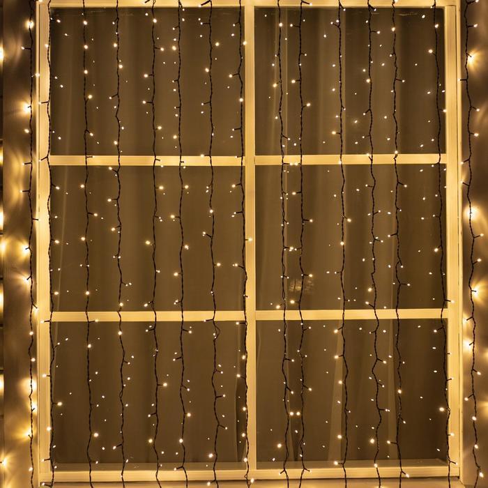 "Гирлянда ""Занавес"" уличная, УМС, 2 х 3 м, 3W LED-760-220V, свечение тёплое белое"