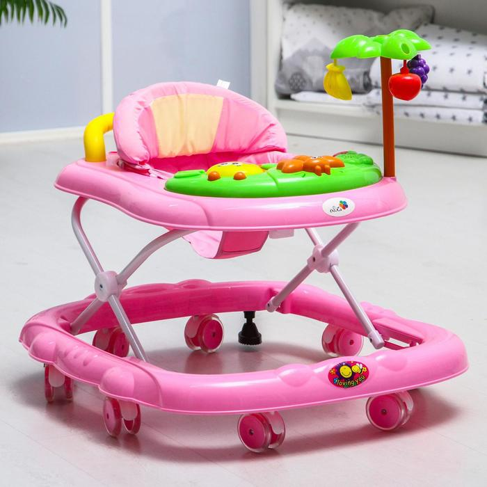 Ходунки детские музыкальные «Пальма», 7 силиконовых колес, цвет розовый