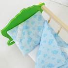 """Постельное бельё для кукол """"Голубые сердечки"""", простынь, одеяло, подушка"""