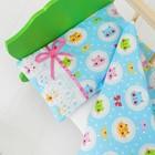 """Постельное бельё для кукол """"Голубые котики"""", простынь, одеяло, подушка"""