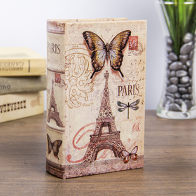 "Сейф-книга дерево ""Париж. Эйфелева башня. Бабочки"" кожзам 17х11х5 см"