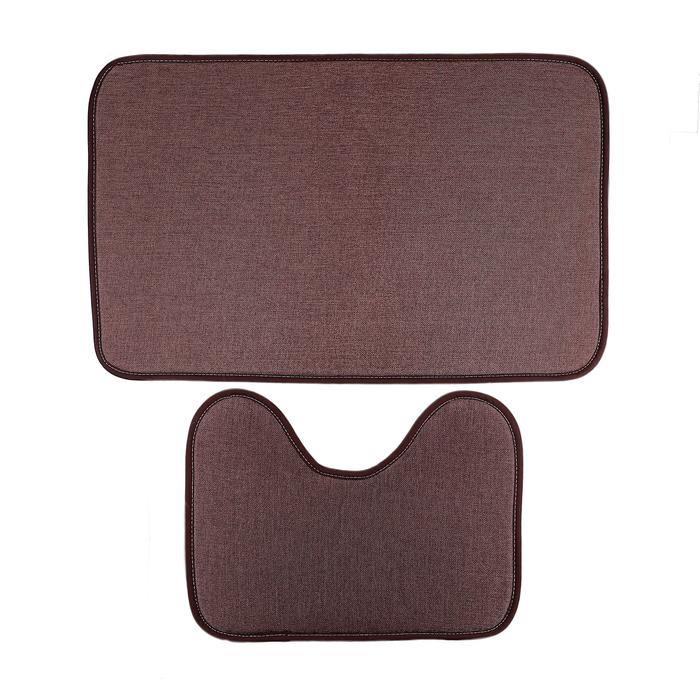 """Набор ковриков для ванной и туалета """"Лён"""", 2 шт, цвет коричневый"""