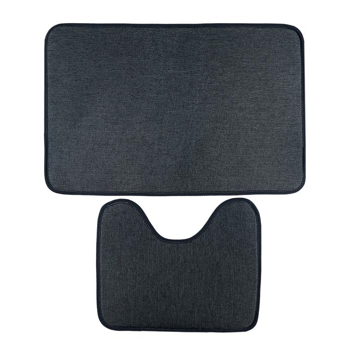 Набор ковриков для ванной и туалета, 2 шт., «Лён», цвет серый