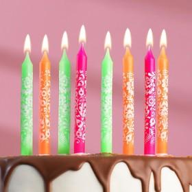 """Набор свечей для торта """"С Днём Рождения"""" с цветочками, классические, 8 штук"""