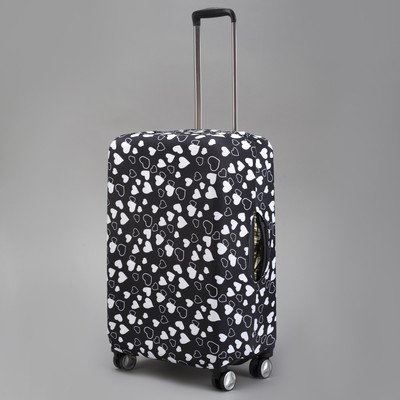 """Чехол для чемодана """"Сердечки"""", 24"""", цвет чёрный/белый"""