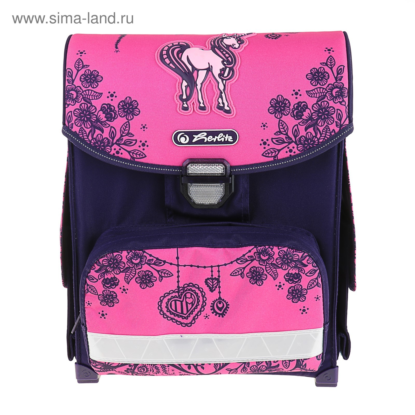 8c4a4688b611 Ранец на замке Herlirz SMART 38х30х21см, для девочки, Unicorn Day,  розовый/фиолетовый