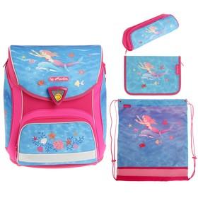 Ранец на замке Herlitz Sporti Plus, 38 х 36 х 22, для девочки, с наполнением: мешок, пенал, пенал-косметичка, Flower Princess