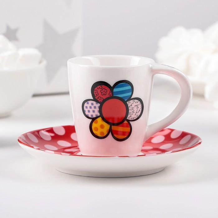 """Чайная пара """"Гротеск. Горошек"""" чашка 100 мл, блюдце 12см - фото 798116116"""
