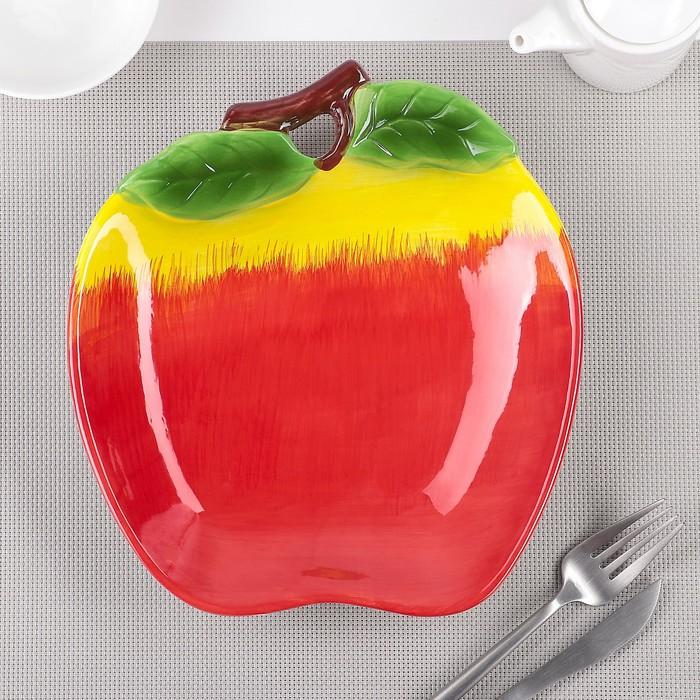 Тарелка «Яблоко», 24×21,5×4 см, цвет красный - фото 798116130