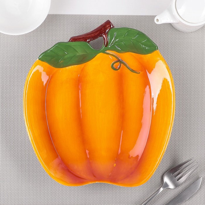 Тарелка «Тыква», 24×21,5×4 см, цвет оранжевый