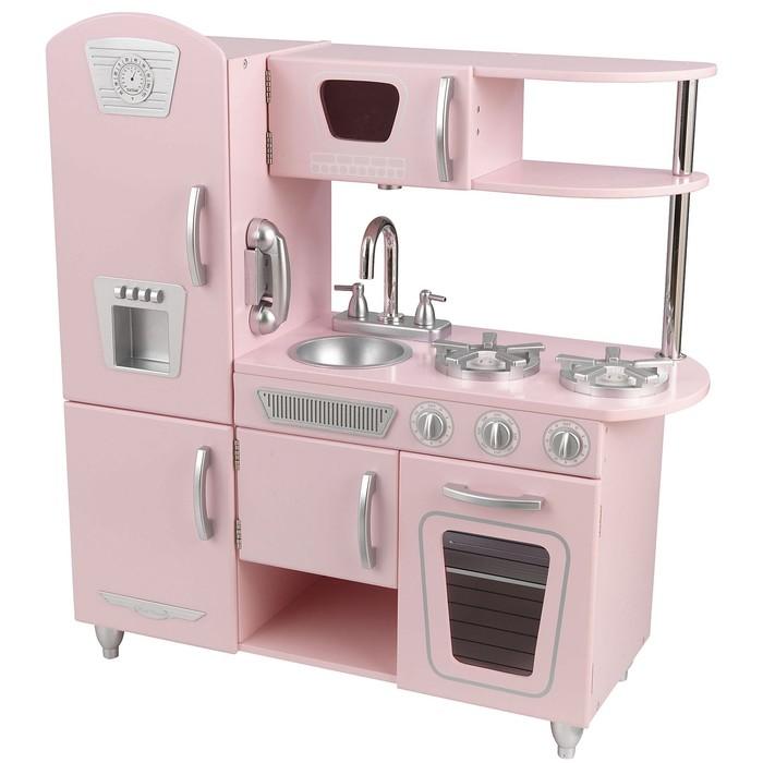 Игровая кухня из дерева «Винтаж», розовая