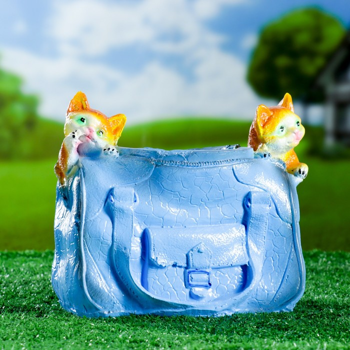 "Фигурное кашпо ""Котята в сумке"" 25х12см - фото 822095"