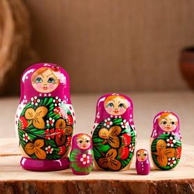 Матрёшка «Божья коровка», фиолетовый платок, 5 кукольная, 7 см