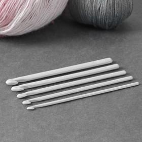 Набор крючков для вязания, d = 4-8 мм, 5 шт, цвет белый