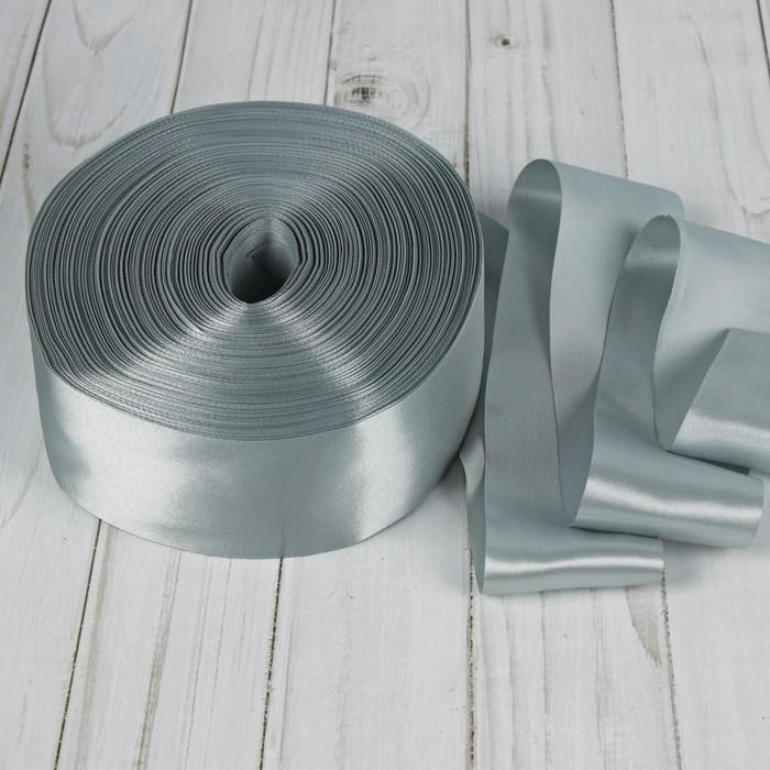 Лента атласная, 50 мм, 100±5 м, №2, цвет серебряный