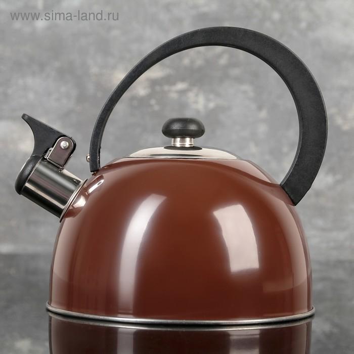 """Чайник со свистком 1,8 л """"Арабика"""", фиксированная ручка, цвет коричневый"""