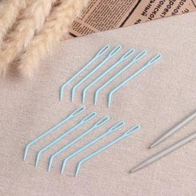 A set of knitting needles, 7 cm, 10 PCs, blue color