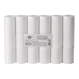 Чековая лента термо 57мм 24м 57х24х12, AKZENT, 18 штук в наборе 110368
