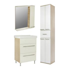 Комплект мебели для ванной Цветной 60: зеркало-шкаф, тумба с раковиной, пенал, правый