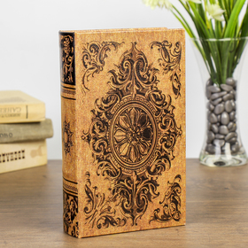"Сейф-книга дерево ""Медальон и вензеля"" кожзам 21х13х5 см"