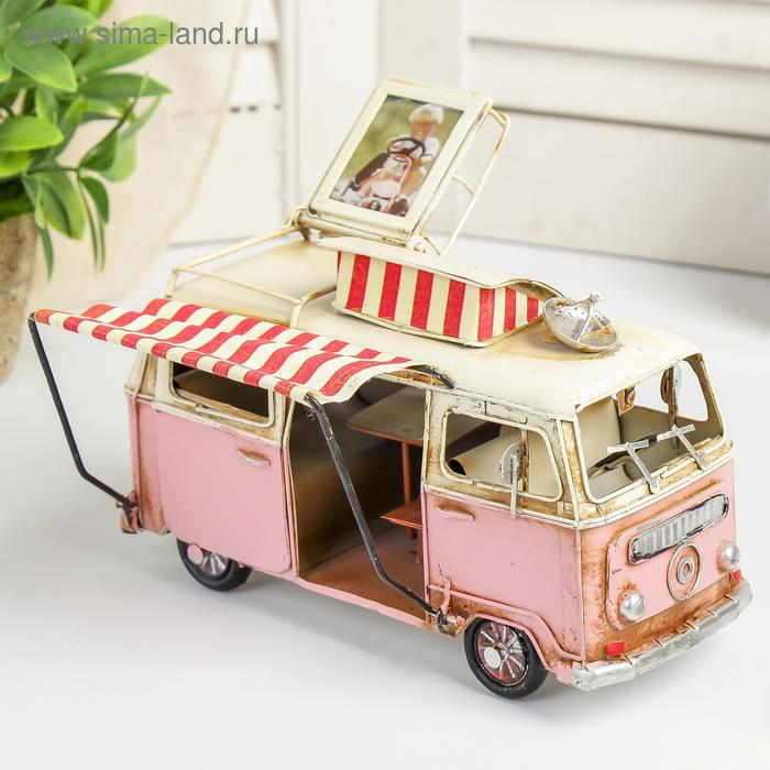 """Модель Ретро """"Автобус белый с розовым, с фоторамкой"""" 20x10x15"""