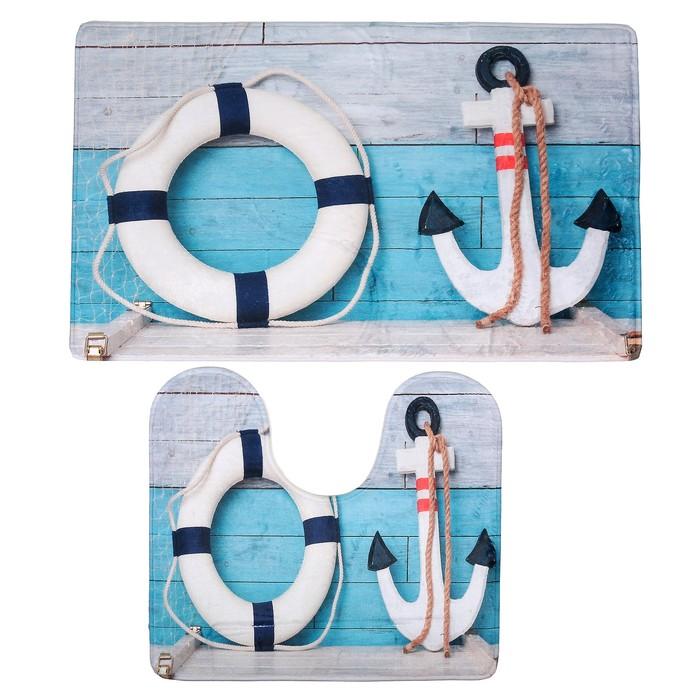 """Набор ковриков для ванны и туалета 45×75, 45×40 см """"Морской"""", 2 шт"""