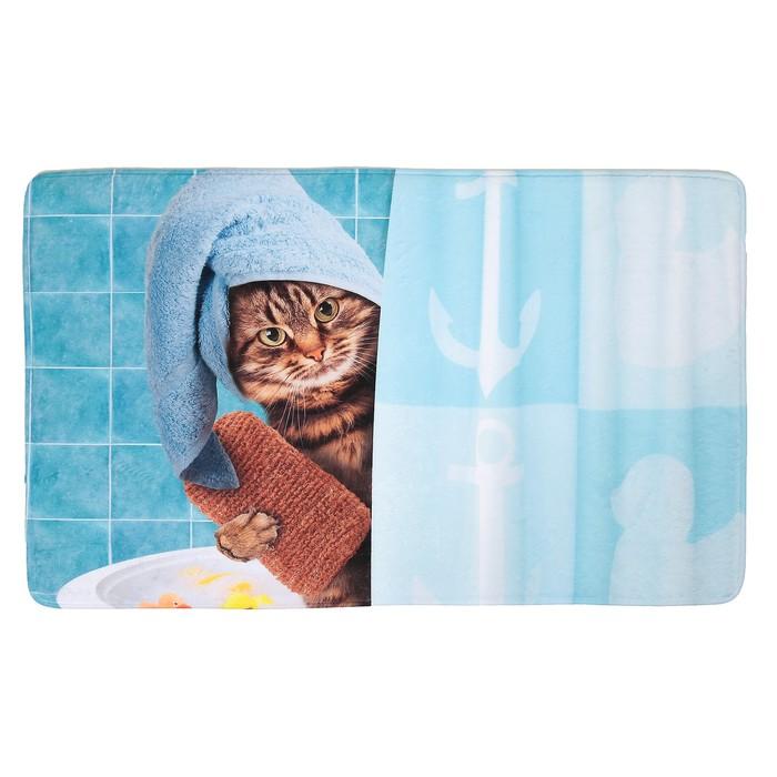 """Коврик для ванны 45×75 см """"Котик в душе"""""""