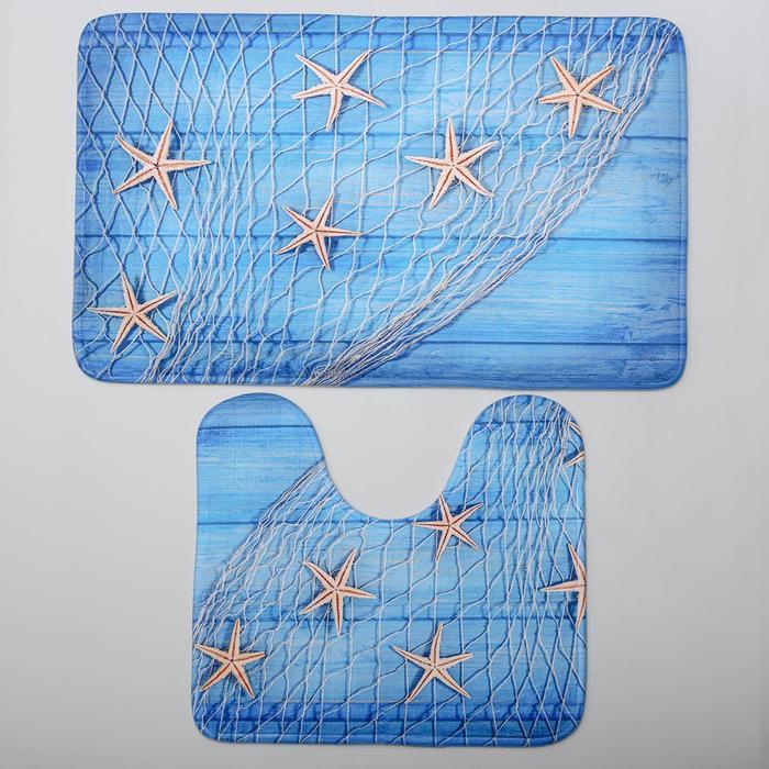 """Набор ковриков для ванны и туалета 45×75, 45×40 см """"Морские звезды"""", 2 шт"""