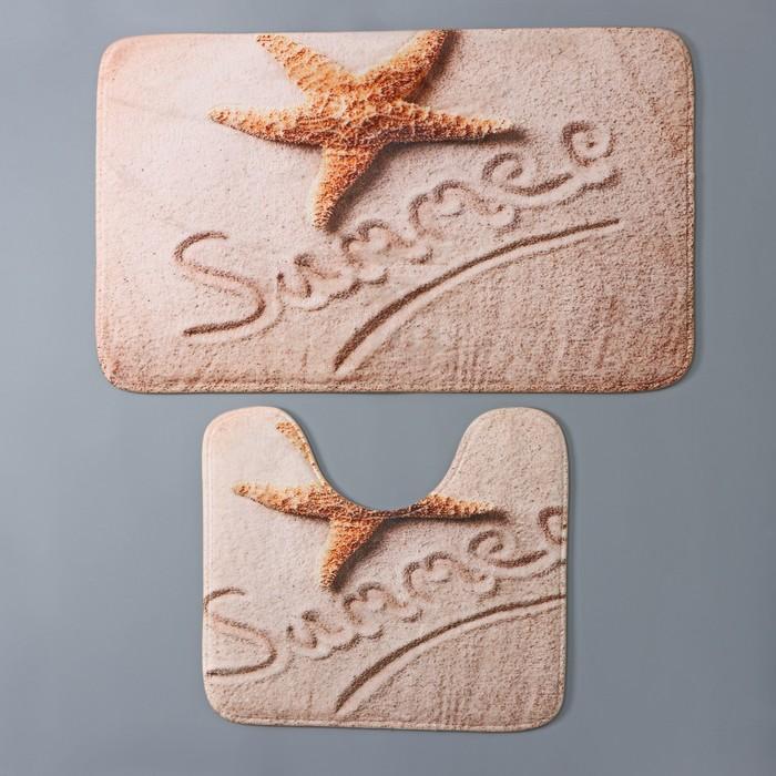 Набор ковриков для ванны и туалета Доляна «На пляже», 2 шт: 40×45, 45×75 см
