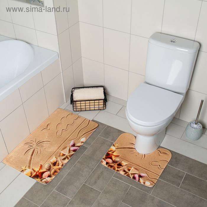 Set of floor mats for the bath and toilet 45×75, 45×40 cm Beach, 2 PCs