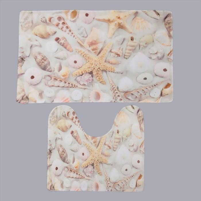 Набор ковриков для ванны и туалета Доляна «Ракушки», 2 шт: 40×45, 45×75 см - фото 742511