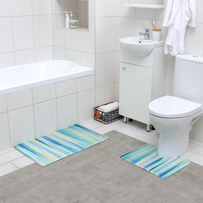 Set of floor mats for the bath and toilet 45×75, 45×40 cm Turquoise, 2 PCs