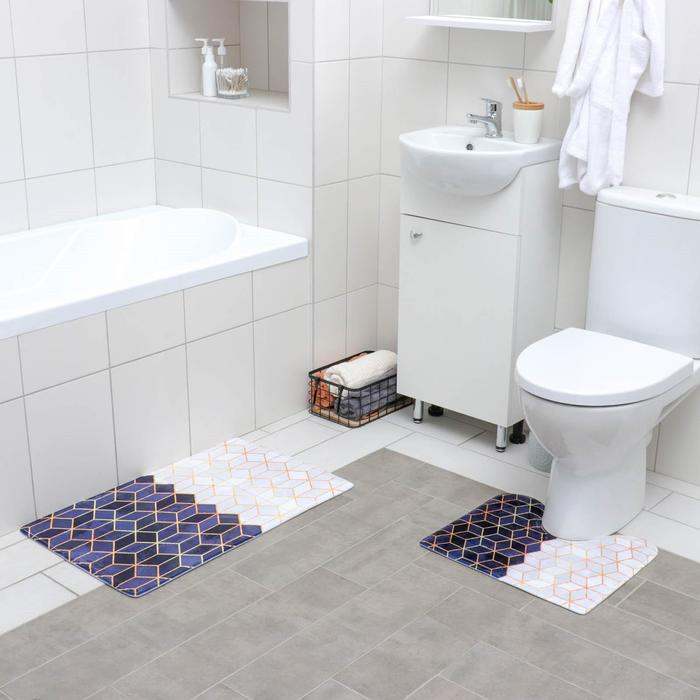 Набор ковриков для ванны и туалета «Геометрия», 2 шт: 40×45, 45×75 см, цвет сине-бежевый