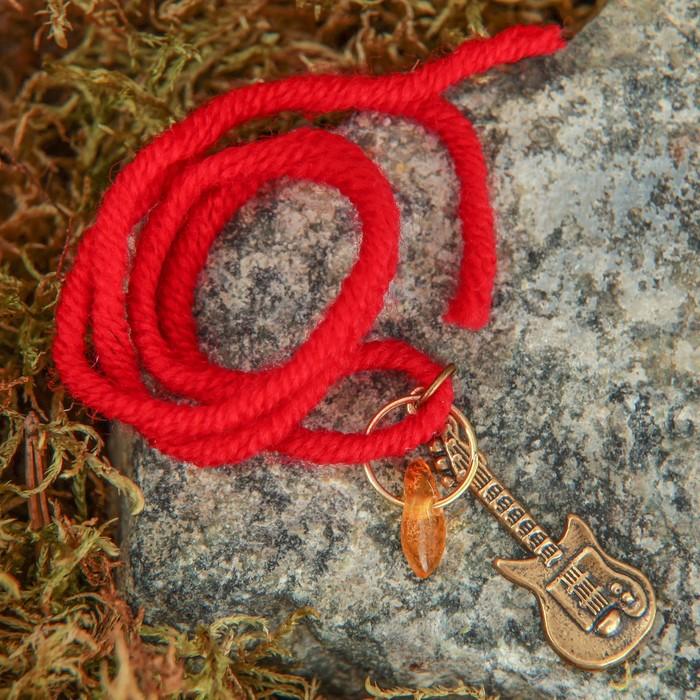 """Браслет-оберег """"Красная нить. Гитара"""" с подвеской, янтарь - фото 234148931"""