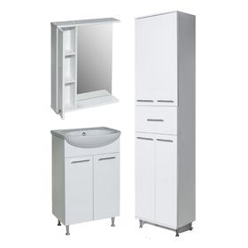 Комплект мебели для ванной Эрика 50 (зеркало+тумба с раковиной+пенал) левый
