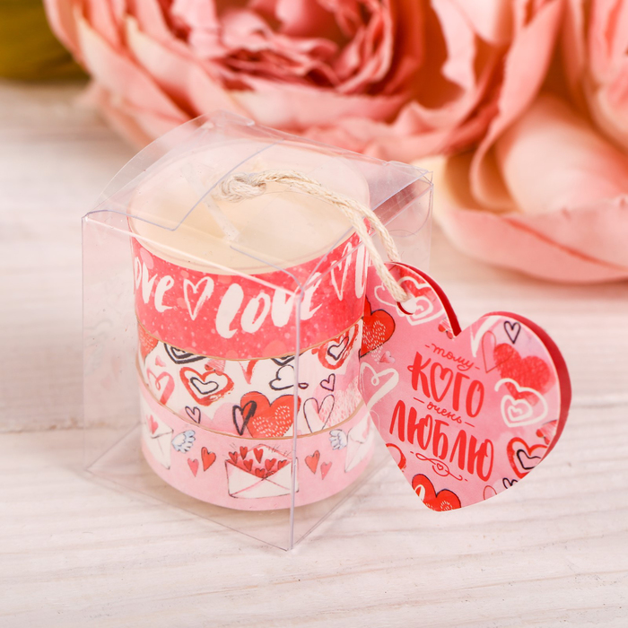 Набор чайных арома-свечей Love, 3 шт - фото 190574269
