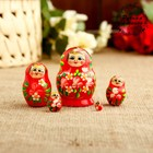 Матрёшка «Цветочек», красное платье, 5 кукольная, 5 см
