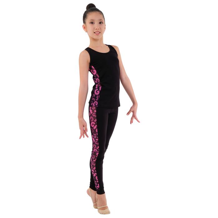 Майка гимнастическая «Нерида» размер 32, цвет чёрный/розовый