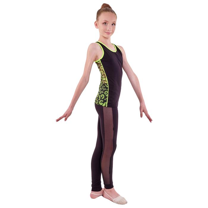 Борцовка гимнастическая «Нерида», размер 34, цвет чёрный/лимонный