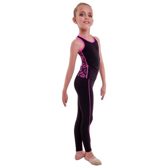 Борцовка гимнастическая «Нерида», размер 34, цвет чёрный/розовый