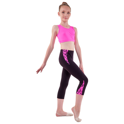 Бриджи гимнастические «Эрида», размер 36, цвет чёрный/розовый