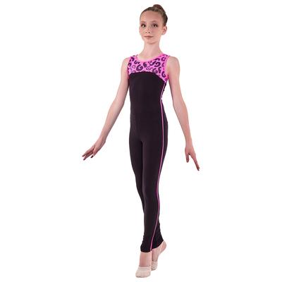 Комбинезон гимнастический «Пульсар», размер 38, цвет чёрный - розовый