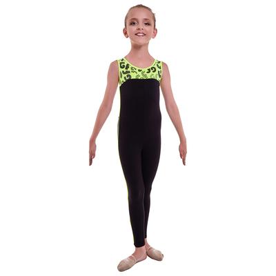 Комбинезон гимнастический «Пульсар», размер 30, цвет чёрный - лимонный